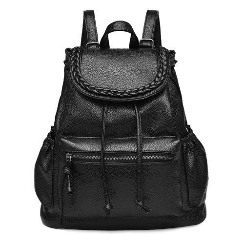 Fashionable String and Black Colour Design Women's Backpack - BLACK
