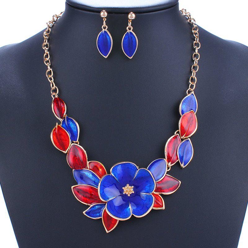 A Suit of Leaf Flower Necklace and Earrings - BLUE