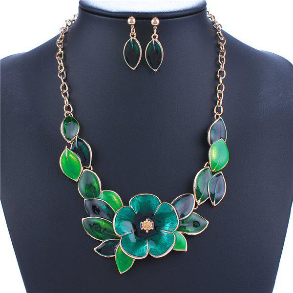 A Suit of Leaf Blossom Necklace and Earrings - GREEN