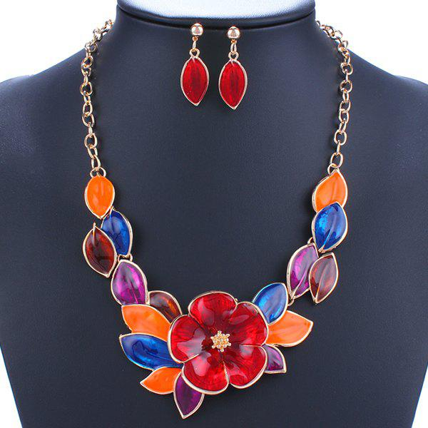 A Suit of Floral Leaf Necklace and Earrings - RED