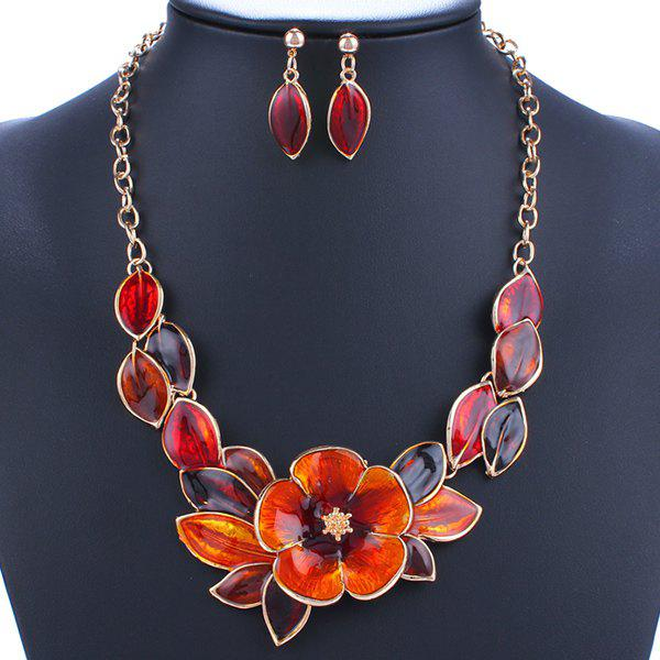 A Suit of Charming Blossom Leaf Necklace and Earrings For Women