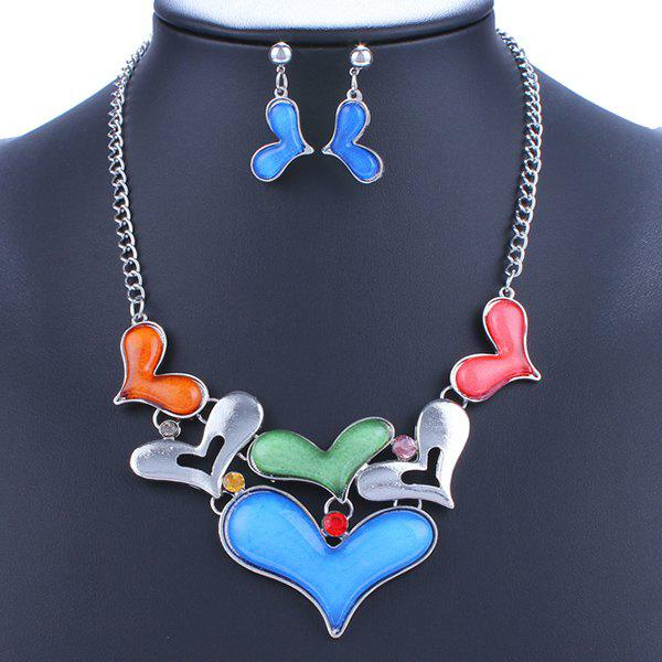 A Suit of Alloy Heart Necklace and Earrings - BLUE