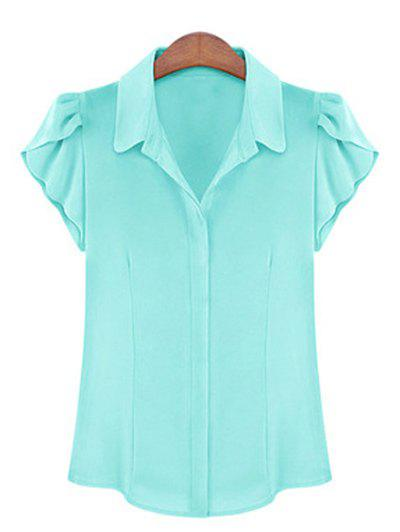 Elegant Women's Shirt Collar Flounce Sleeves Chiffon Shirt - LIGHT BLUE L