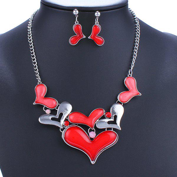A Suit of Alloy Heart Necklace and Earrings - RED