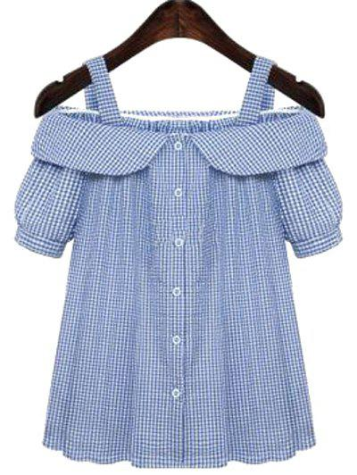 Sweet Off-The-Shoulder Plus Size Plaid Short Sleeve Women's Blouse ...