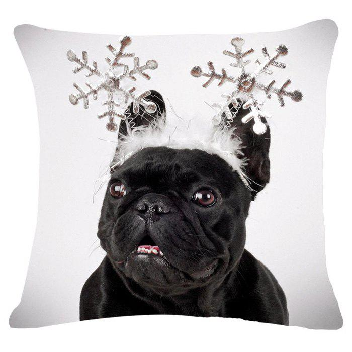 Sweet Snow Puppy Pattern Flax Square Shape Pillowcase (Without Pillow Inner)Home<br><br><br>Color: WHITE AND BLACK