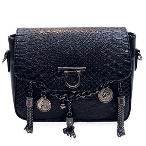 Stylish Chain and Black Colour Design Women's Crossbody Bag - BLACK