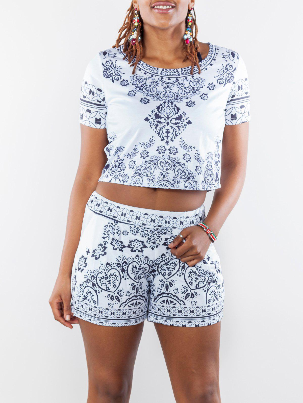 Chic Scoop Neck Short Sleeve Crop Top + Pocket Design Floral Print Shorts Twinset For Women - WHITE S