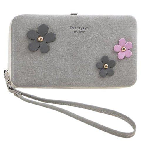 Sweet Hasp and Flower Design Women's Clutch Wallet - GRAY