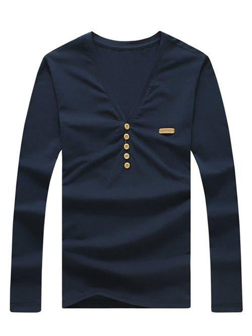 Men's Fashion Solid Color V-Neck Long Sleeves T-Shirt - CADETBLUE XL