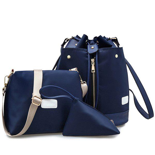 Stylish String and Nylon Design Women's Backpack - CADETBLUE