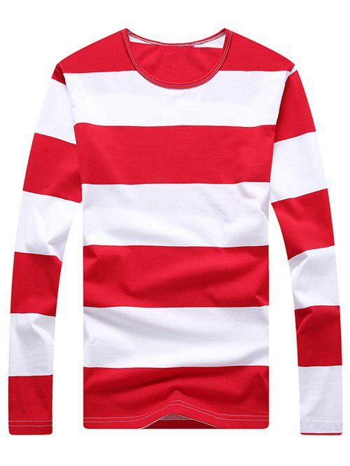 Fashion Striped Men's Long Sleeves T-Shirt - RED M