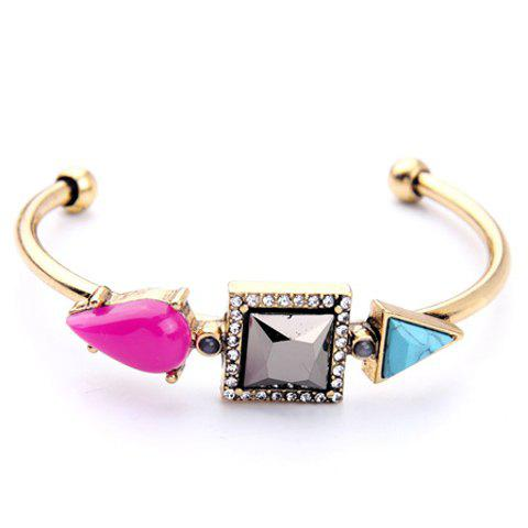 Chic Water Drop Square Triangle Embellished Women's Cuff Bracelet - GOLDEN