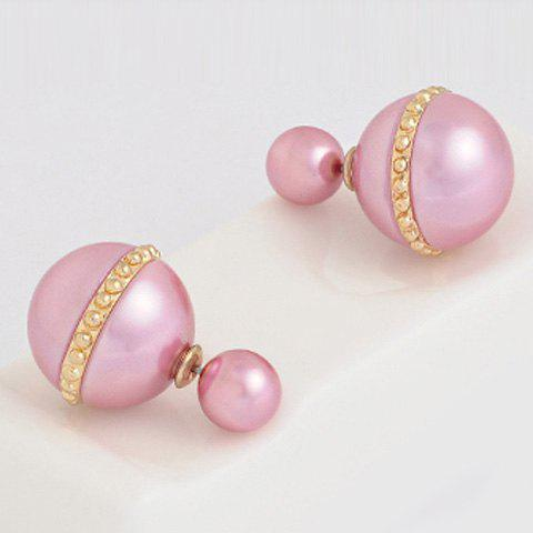 Pair of Cute Alloy Beads Earrings For Women - PINK