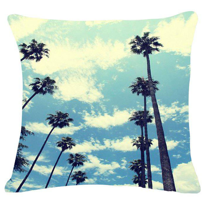 Stylish Blue Sky Pattern Square Shape Flax Pillowcase (Without Pillow Inner) blue sky