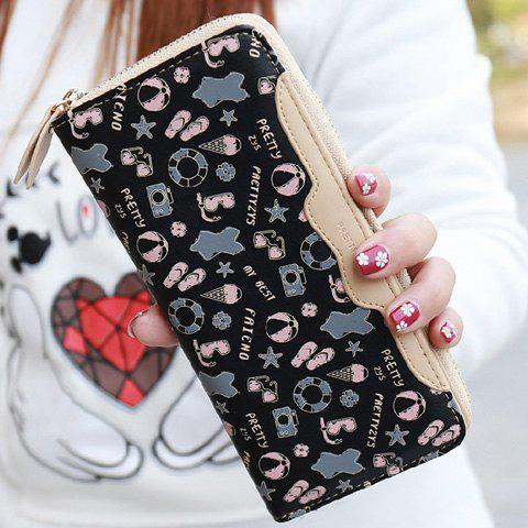 Sweet Print and Zip Design Women's Clutch Wallet - BLACK