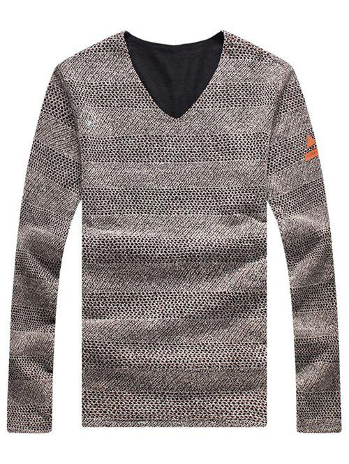 Casual Solid Color V-Neck Men's Sweater - COFFEE 3XL