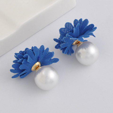 Pair of Chic Alloy Faux Pearl Flower Earrings Jewelry For Women - BLUE