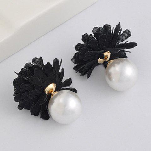 Pair of Faux Pearl Alloy Flower Earrings