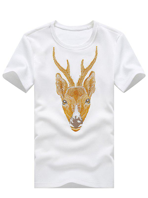 3D Elk Embroidered Round Neck Plus Size Short Sleeve Men's T-Shirt - WHITE XL