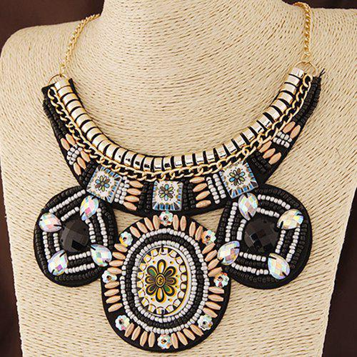 Alloy Floral Beads Necklace - BLACK