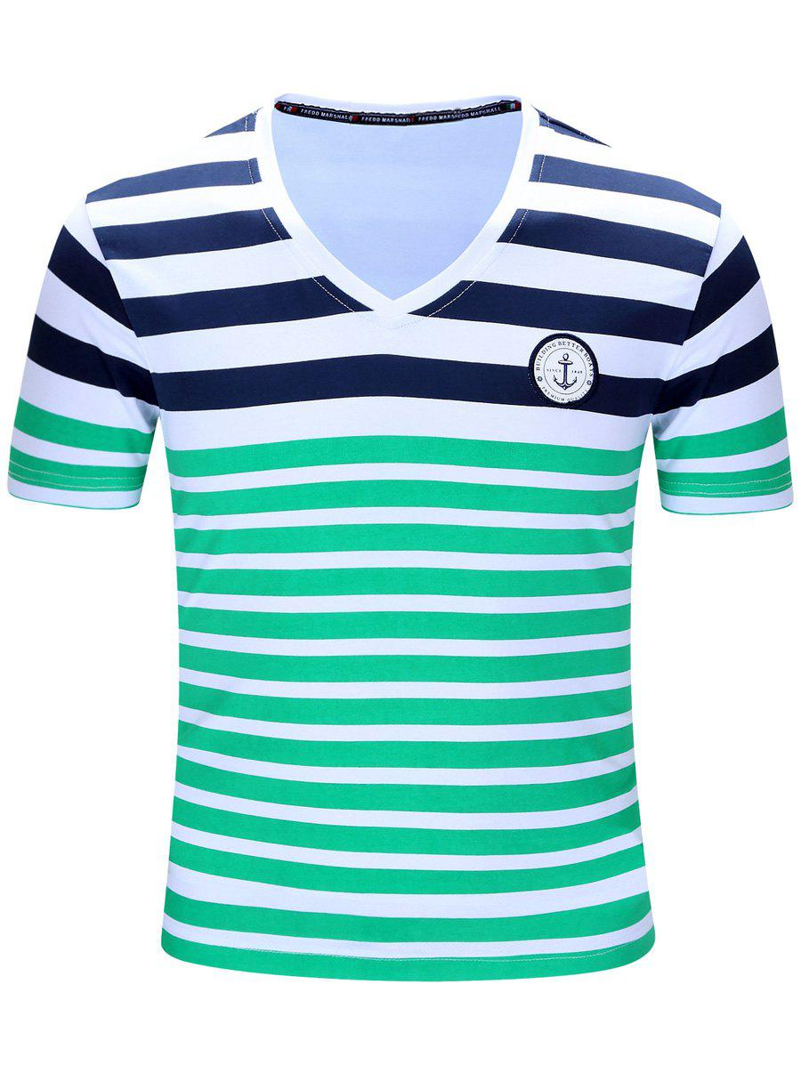 Casual Short Sleeves Striped V-Neck Men's T-Shirt - GREEN M