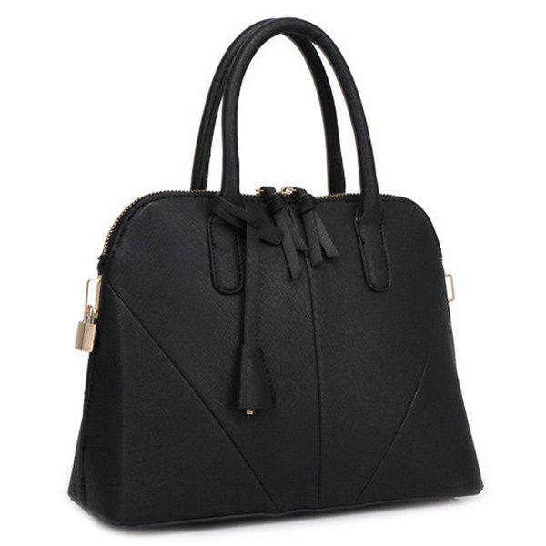 Elegant Stitching and Solid Color Design Women's Tote Bag - BLACK