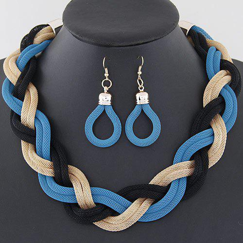 A Suit of Alloy Water Drop Necklace and Earrings - BLUE
