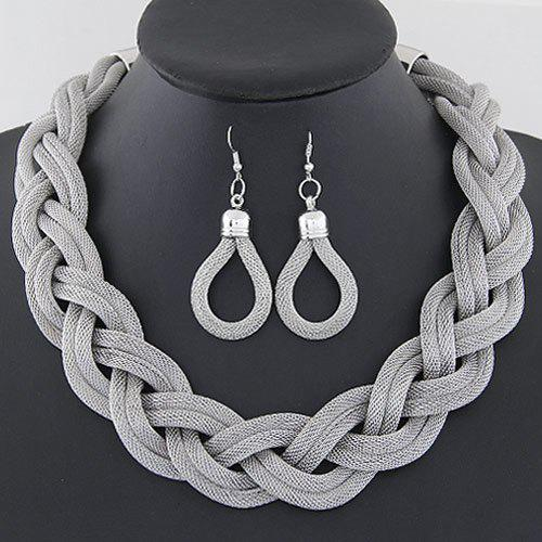 A Suit of Water Drop Alloy Necklace and Earrings - SILVER