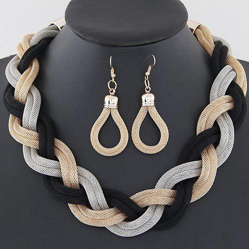 A Suit of Chic Alloy Water Drop Necklace and Earrings Jewelry For Women - GOLDEN