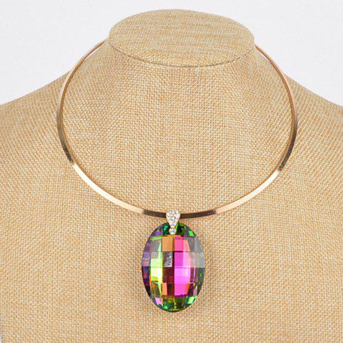 Rhinestone Alloy Oval Necklace - COLORMIX