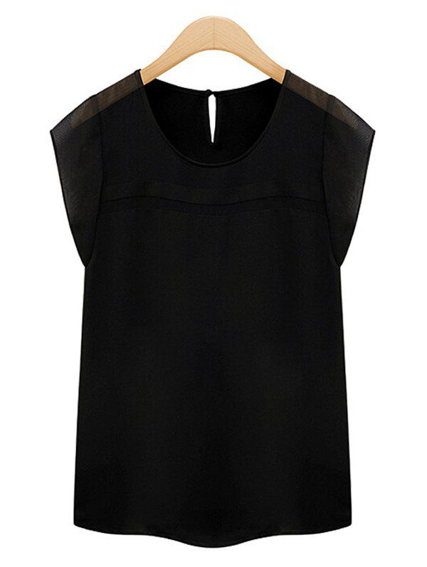 Elegant Women's Scoop Neck Cap Sleeves Patchwork Chiffon Blouse - BLACK 2XL