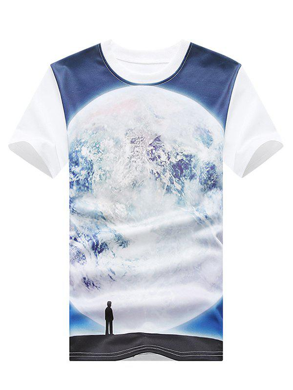 3D Figure and Moon Print Round Neck Plus Size Short Sleeve Men's T-Shirt - WHITE XL