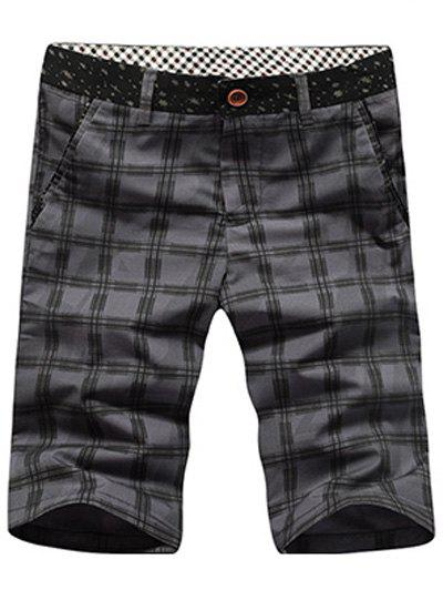 Men's Casual Checked Plus Size Shorts - GRAY 31