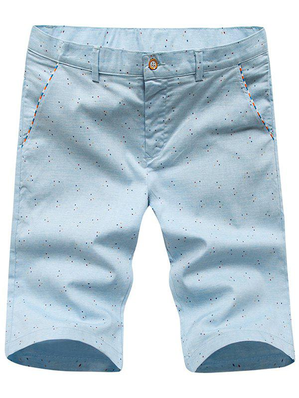 Men's Casual Dot Printed Plus Size Shorts - LIGHT BLUE 8XL