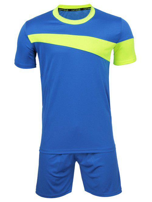 Men's Stylish Round Neck Color Block Short Sleeve T-Shirt + Shorts - BLUE 2XL