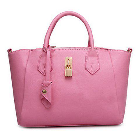 Sweet Solid Color and Zip Design Women's Tote Bag - PINK
