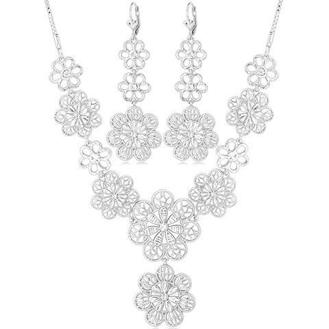 A Suit of Hollow Out Flower Necklace and Earrings - SILVER