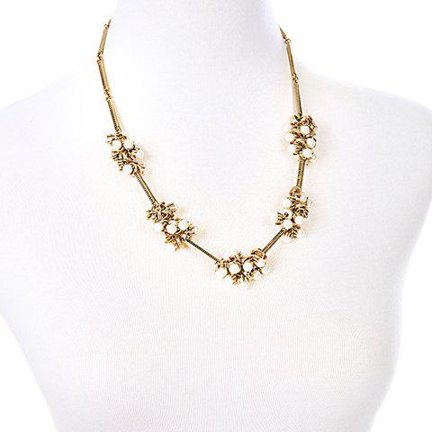 Faux Pearl and Hollow Out Alloy Embellished Necklace - GOLDEN
