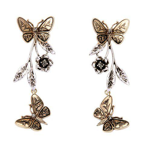 Pair of Chic Butterfly and Flower Shape Embellished Women's Detachable Earrings
