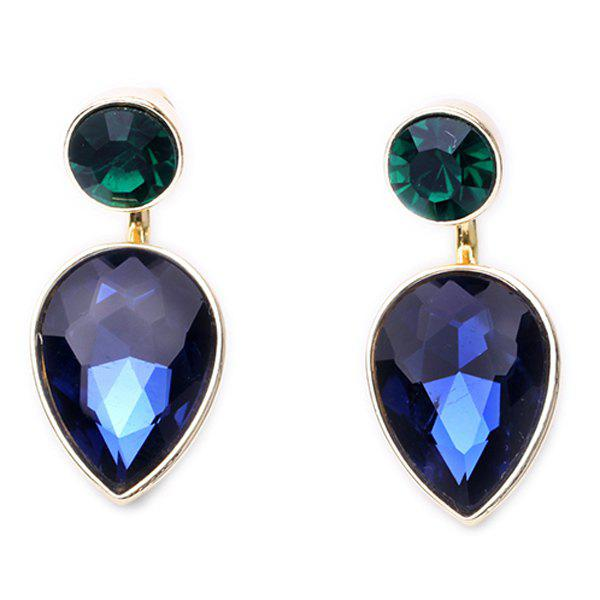 Pair of Faux Sapphire Embellished Detachable Earrings - BLUE