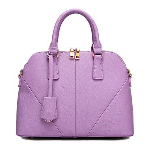 Ladylike Stitching and Zip Design Women's Tote Bag - LIGHT PURPLE