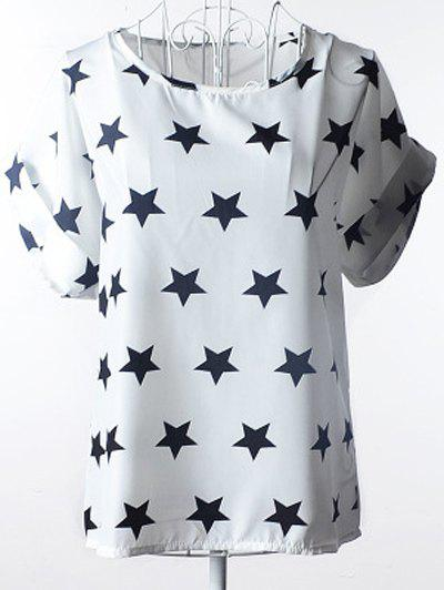 Elegant Women's Plus Size Scoop Neck Stars Pattern Blouse - WHITE S