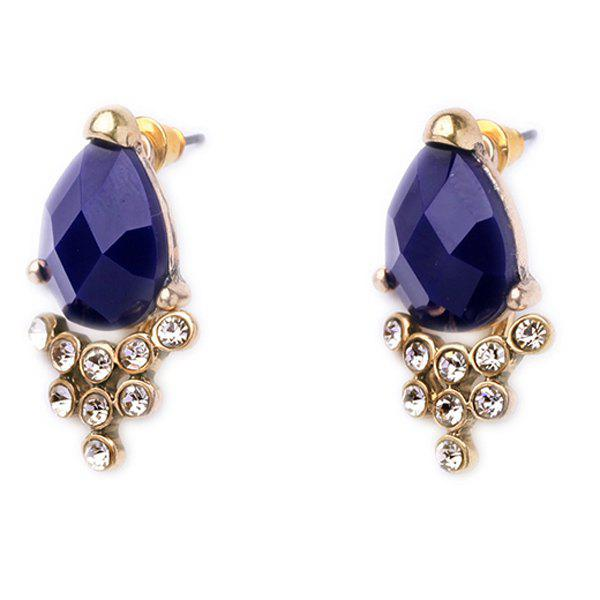 Pair of Faux Sapphire Rhinestone Embellished Detachable Earrings - DEEP BLUE