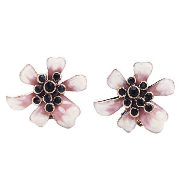 Pair of Chic Black Faux Gem Embellished Women's Flower Earrings - WHITE