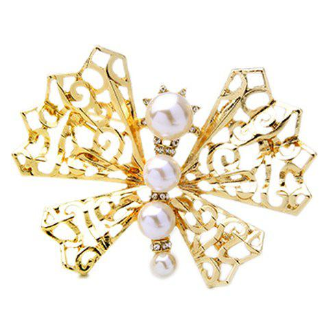 Faux Pearl Hollow Out Butterfly Brooch - GOLDEN