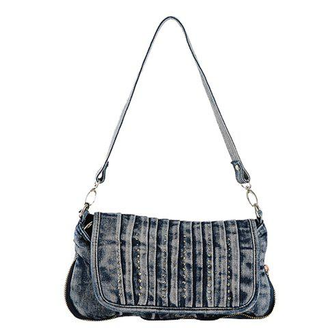 Casual Solid Color and Denim Design Women's Tote Bag - DENIM BLUE