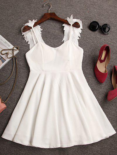 Stylish Sleeveless Open Back Spliced Dress For Women - WHITE S