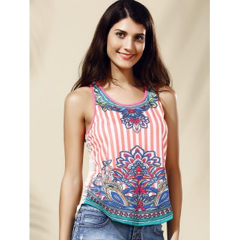 Stylish Scoop Neck Lace Ethnic Print Tank Top For Women - PINK M
