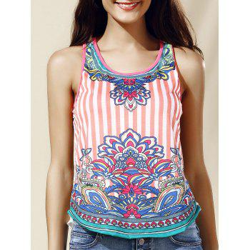 Stylish Scoop Neck Lace Ethnic Print Tank Top For Women